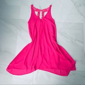 Bright Pink Dress with cute flower lace straps S/M